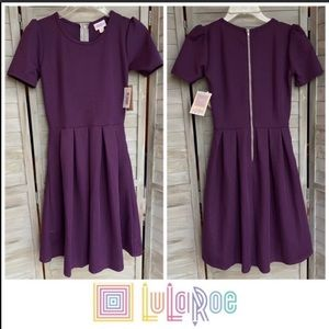 Lularoe Amelia Solid Purple Dress fit flare XXS
